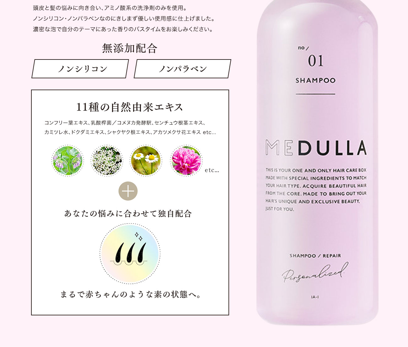 頭皮と髪の悩みに向き合い、アミノ酸系の洗浄剤のみを使用。ノンシリコン・ノンパラベンなのにきしまず優しい使用感に仕上げました。濃密な泡で自分のテーマにあった香りのバスタイムをお楽しみください。無添加配合11種の自然由来エキスコンフリー葉エキス、乳酸桿菌/コメヌカ発酵駅、センチュウ根茎エキス、カミツレ水、ドクダミエキス、シャクヤク根エキス、アカツメクサ花エキス etc...あなたの悩みに合わせて独自配合まるで赤ちゃんのような素の状態へ。