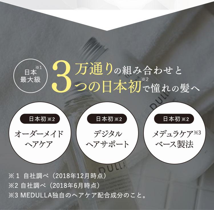 日本最大級3万通りの組み合わせと3つの日本初で憧れの髪へオーダーメイドヘアケアデジタルヘアサポートメデュラケアベース製法※1 自社調べ(2018年12月時点)※2 自社調べ(2018年6月時点) ※3 MEDULLA独自のヘアケア配合成分のこと。