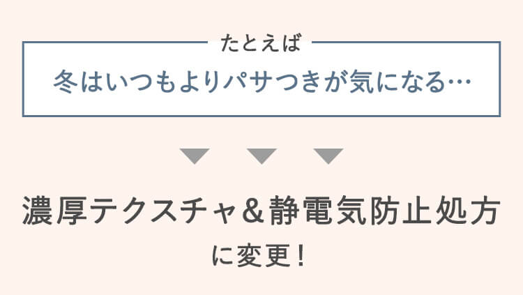 濃厚テクスチャ&静電気防止処方に変更!