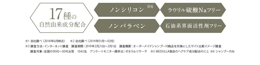 オーダーメイドヘアケア・デジタルヘアケアサポート・メデュラケアベース製法 17種の自然由来成分配合
