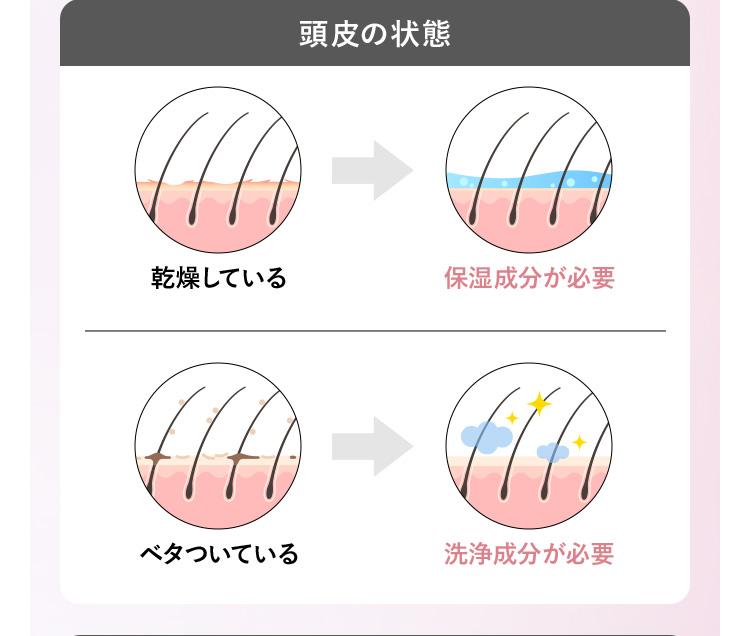 頭皮の状態 乾燥している 保湿成分が必要 ベタついている 洗浄成分が必要