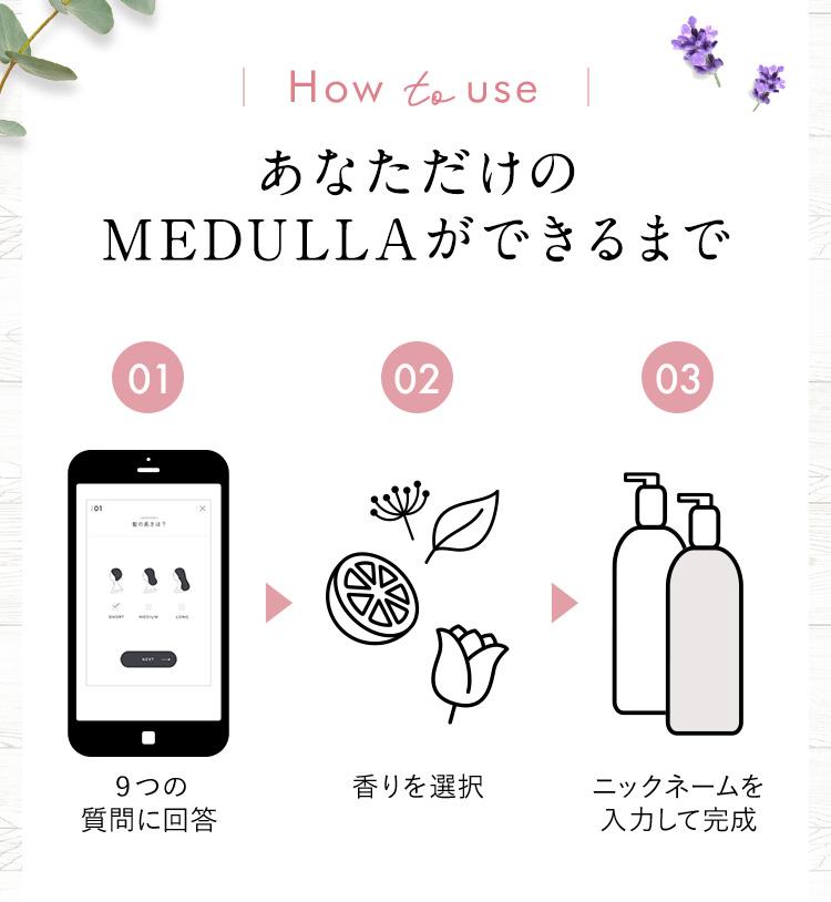 How to use あなただけのMEDULLAができるまで 01 9つの質問に回答 02 香りを選択 03 ニックネームを入力して完成