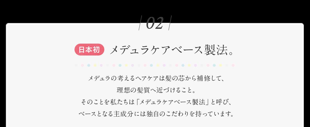 日本初 メデュラケアベース製法。